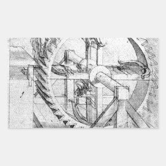 Engranajes de Leonardo Pegatina Rectangular