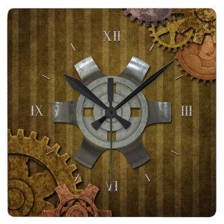 Engranajes de Steampunk Reloj Cuadrado