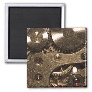 Engranajes del metal de Steampunk Imán Cuadrado