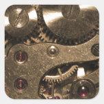 Engranajes del metal de Steampunk Calcomania Cuadradas Personalizada