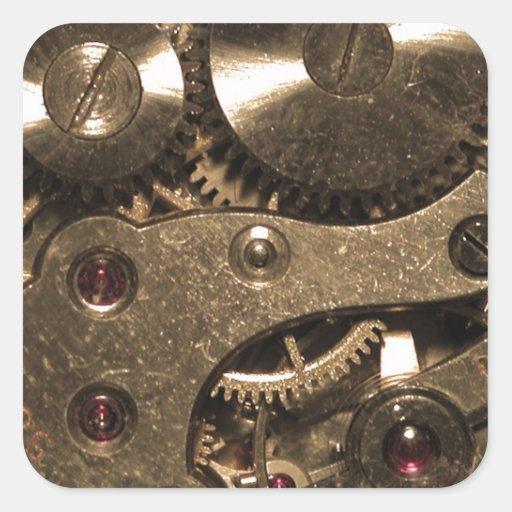 Engranajes del metal de Steampunk Pegatina Cuadrada