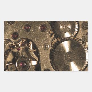 Engranajes del metal de Steampunk Pegatina Rectangular