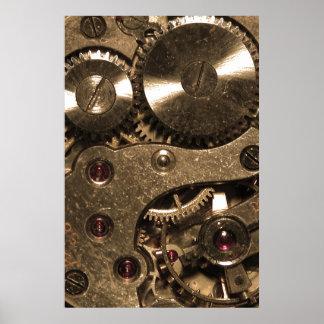 Engranajes del metal de Steampunk Póster
