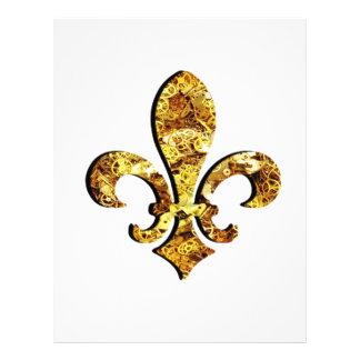 Engranajes del oro de Flor New Orleans de la flor Membrete A Diseño