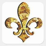 Engranajes del oro de Flor New Orleans de la flor Pegatina Cuadrada