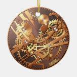 engranajes del reloj del steampunk adorno navideño redondo de cerámica