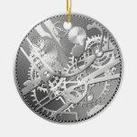 engranajes del reloj del steampunk de la astilla adorno navideño redondo de cerámica