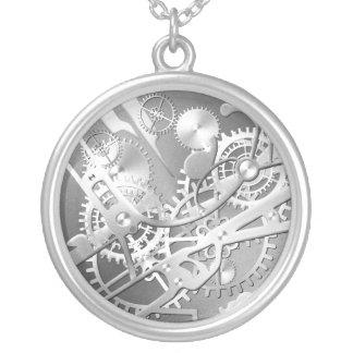 Engranajes del reloj del steampunk de la astilla collar plateado