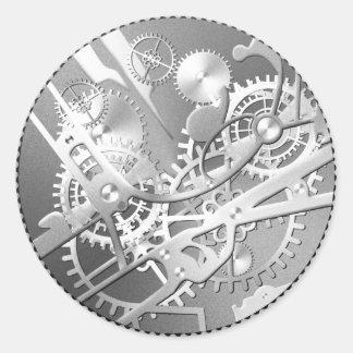 engranajes del reloj del steampunk de la astilla etiquetas redondas