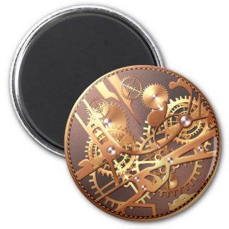 engranajes del reloj del steampunk imán redondo 5 cm
