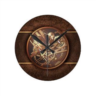engranajes del steampunk reloj redondo mediano