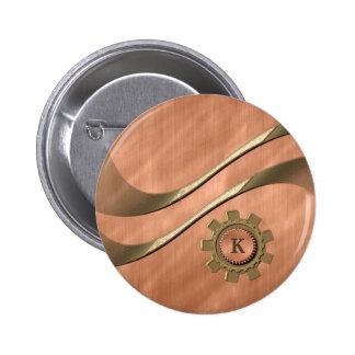 Engranajes en el cobre pin redondo de 2 pulgadas