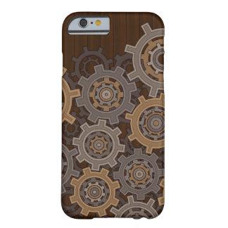 Engranajes en el estilo de madera de Steampunk Funda De iPhone 6 Barely There