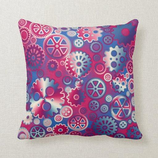 Engranajes metálicos coloridos almohadas