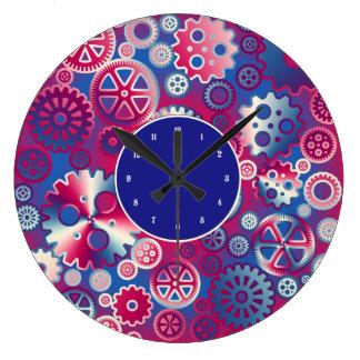Engranajes metálicos coloridos reloj redondo grande