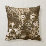 Engranajes metálicos de la sepia almohadas