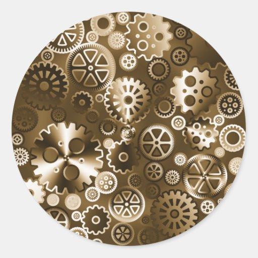 Engranajes metálicos de la sepia pegatina redonda