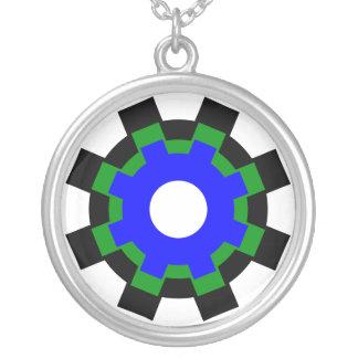 - Engranajes negros - collar azulverde