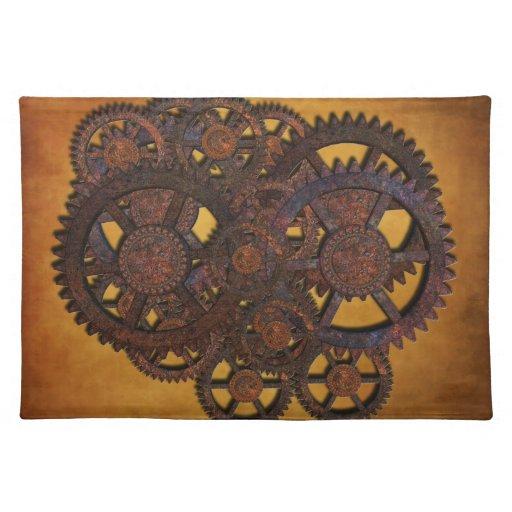 Engranajes oxidados de Steampunk Manteles Individuales