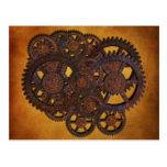 Engranajes oxidados de Steampunk Postales