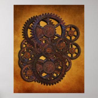 Engranajes oxidados de Steampunk Póster