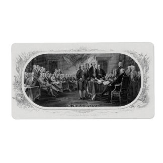 Engraved Declaration of Independence John Trumbull Shipping Label