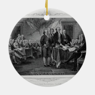 Engraved Declaration of Independence John Trumbull Double-Sided Ceramic Round Christmas Ornament