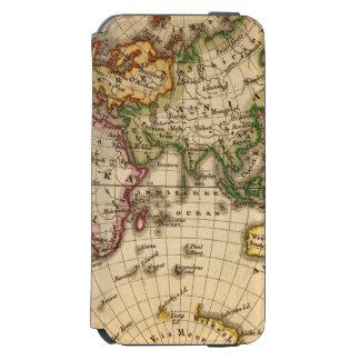 Engraved Eastern Hemisphere Map iPhone 6/6s Wallet Case