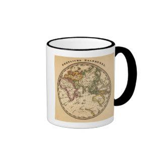 Engraved Eastern Hemisphere Map Ringer Mug
