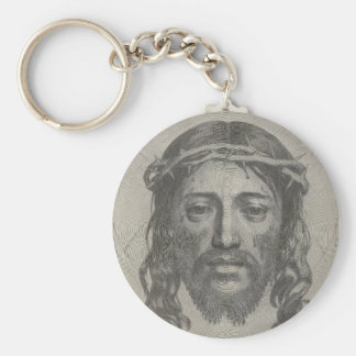 Engraved Face of Jesus Christ by Claude Mellan Basic Round Button Keychain