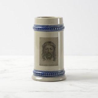 Engraved Face of Jesus Christ by Claude Mellan Beer Stein