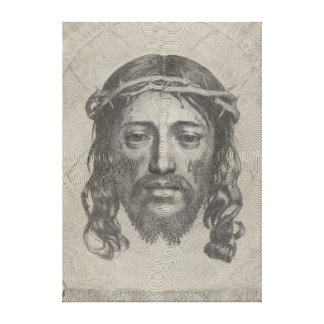 Engraved Face of Jesus Christ by Claude Mellan Canvas Prints