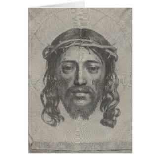 Engraved Face of Jesus Christ by Claude Mellan Greeting Card
