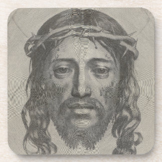 Engraved Face of Jesus Christ by Claude Mellan Drink Coaster