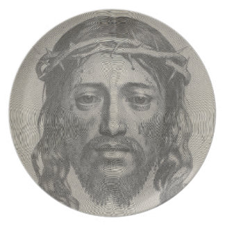 Engraved Face of Jesus Christ by Claude Mellan Dinner Plate