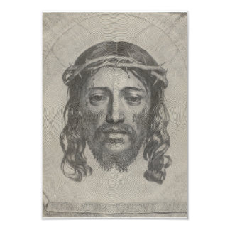 Engraved Face of Jesus Christ by Claude Mellan 3.5x5 Paper Invitation Card
