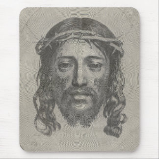 Engraved Face of Jesus Christ by Claude Mellan Mouse Pad