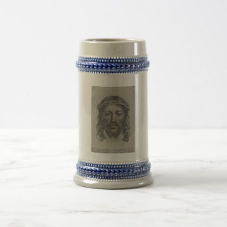 Engraved Face of Jesus Christ by Claude Mellan 18 Oz Beer Stein