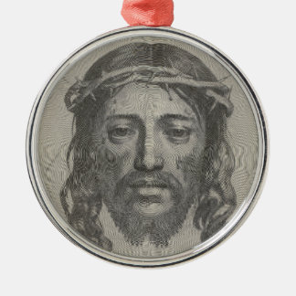 Engraved Face of Jesus Christ by Claude Mellan Round Metal Christmas Ornament