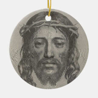Engraved Face of Jesus Christ by Claude Mellan Double-Sided Ceramic Round Christmas Ornament