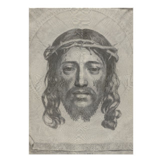 Engraved Face of Jesus Christ by Claude Mellan Art Photo