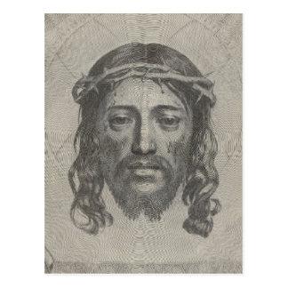 Engraved Face of Jesus Christ by Claude Mellan Postcard