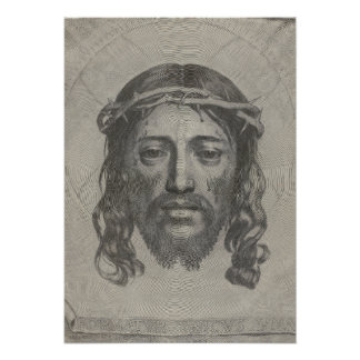 Engraved Face of Jesus Christ by Claude Mellan Poster