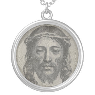 Engraved Face of Jesus Christ by Claude Mellan Round Pendant Necklace