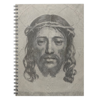 Engraved Face of Jesus Christ by Claude Mellan Spiral Notebook
