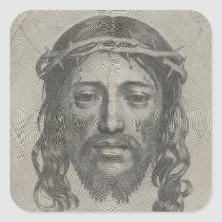 Engraved Face of Jesus Christ by Claude Mellan Square Sticker
