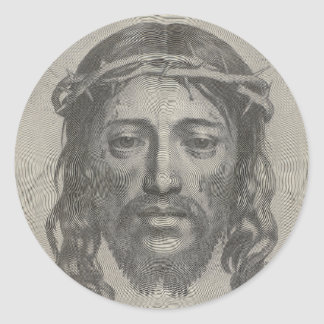 Engraved Face of Jesus Christ by Claude Mellan Classic Round Sticker