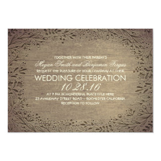 engraved floral wood rustic wedding 5x7 paper invitation card