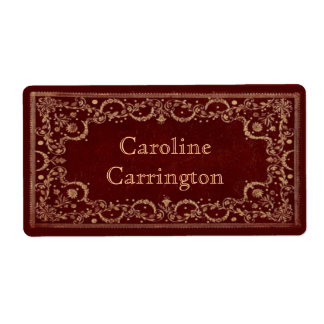 Engraved Gilt Leather Effect Personal Bookplate Shipping Label