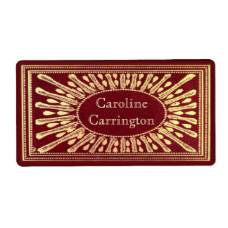 Engraved Gilt Leather Personal Bookplate Stickers